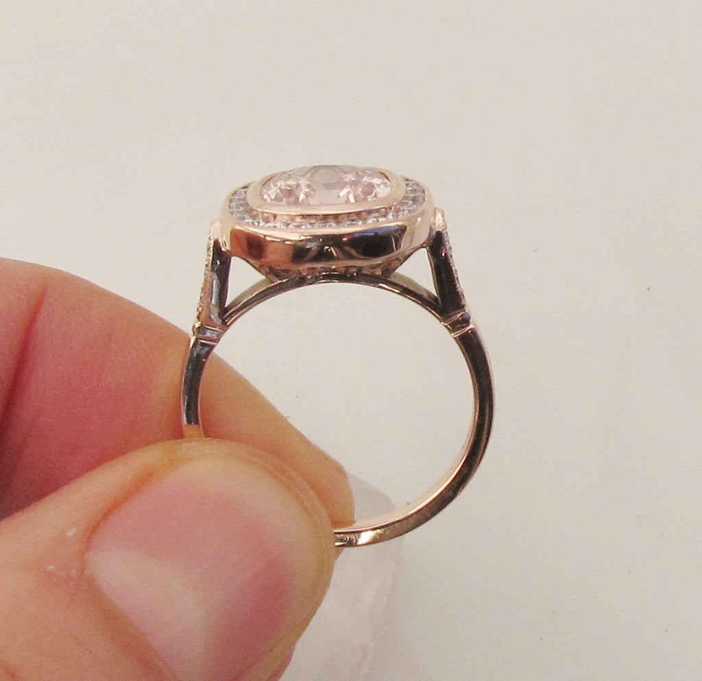679b80334cc293 pink champagne sapphire rose gold ring; vintage rose gold engagement ring  ...