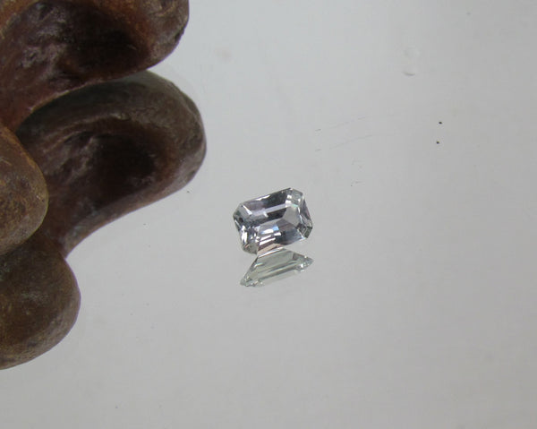 Radiant Sapphire Emerald Cut Grey Blue Faceted Gemstone for Engagement Ring September Birthstone