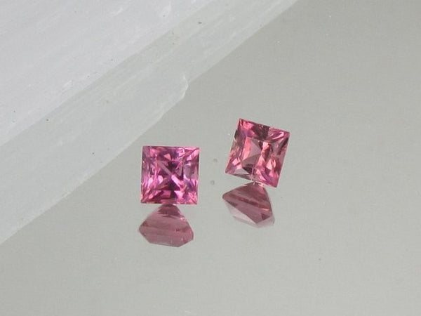Pink Tourmaline Pair for Earrings 5.4mm Princess Cut