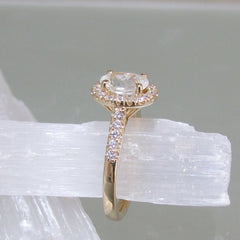 Yellow Gold White Gold or Rose Gold Diamond Halo Semi Mount for Custom Engagement Ring Wedding Ring