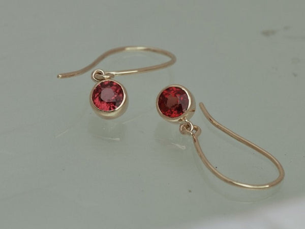 Ruby Dangle Earrings in14k Yellow Gold