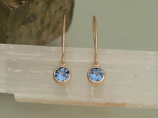 Blue Sapphire 14k Gold Handmade Dangle Earrings