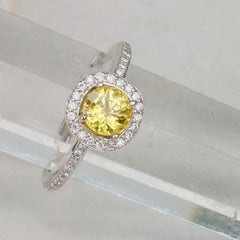 Canary Yellow Sapphire Engagement Ring 14k White Gold Diamond Halo Square Cushion Shape September Birthstone