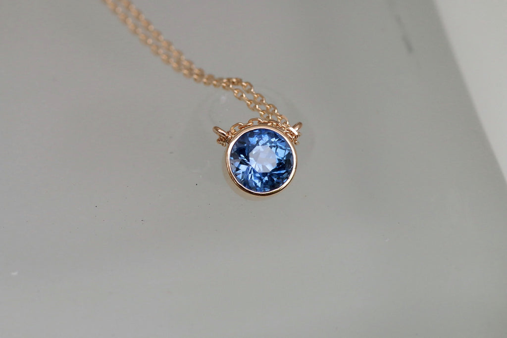 Blue sapphire layering necklace gold bezel set gemstone pendant with y blue sapphire layering necklace gold bezel set gemstone pendant with yellow gold cable chain keepsake gift aloadofball Image collections