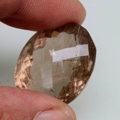 Rutilated Smokey Quartz Oval Faceted Gemstone Over 54 Carats Rutile Needles for Pendant