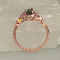 Vintage Diamond Halo Engagement Semi Mount Available in Rose Gold White Gold and Yellow Gold