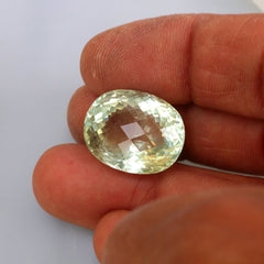 Green Aquamarine Checkerboard Oval Shape Over 26 Carats Loose Gemstone for Fine Jewelry