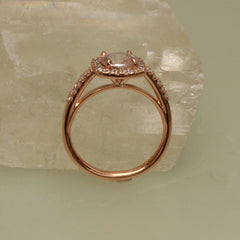 Blush Pink Peach Sapphire Engagement Ring Rose Gold Cushion Shape Diamond Halo Weddings Anniversary