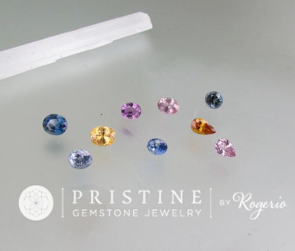 Sapphire Collection Lot Pink Blue Yellow Sapphire Oval Shape Over 10 Carats September Birthstone for Gemstone Jewelry