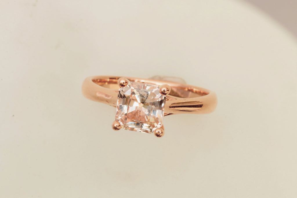 Champagne peach sapphire rose gold solitaire engagement ring 2ct radia champagne peach sapphire rose gold solitaire engagement ring 2ct radiant cut gemstone engagement ring weddings anniversary junglespirit Images
