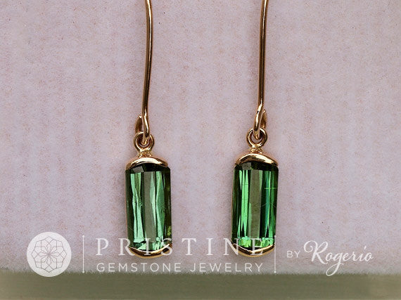 Green Tourmaline Dangle Earrings in Handmade Yellow Gold Bar Settings