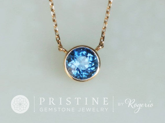 Blue Sapphire Layering Necklace Gold Bezel Set Gemstone Pendant with Yellow Gold Cable Chain Keepsake Gift for Her