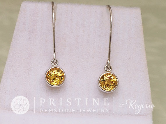 yellow sapphire dangle earrings