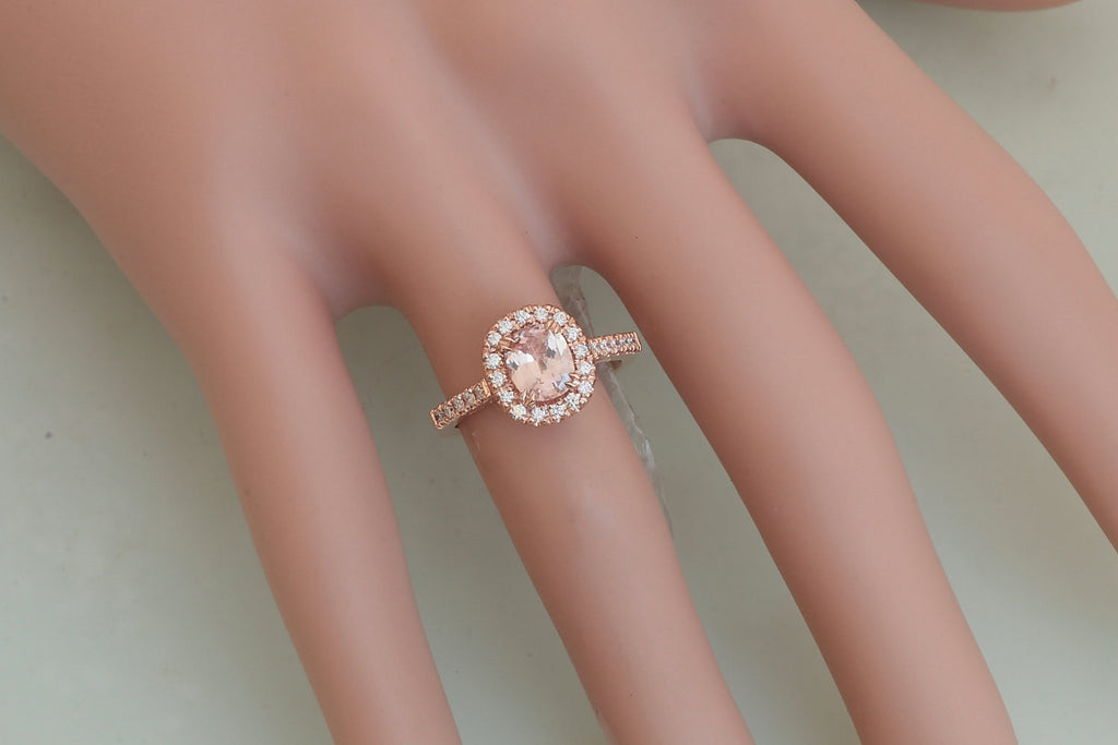 Cushion peach pink champagne sapphire rose gold engagement ring cushio cushion peach pink champagne sapphire rose gold engagement ring cushion shape weddings anniversary ring junglespirit Images