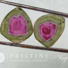 Watermelon Tourmaline Slice Pair for Earrings Fine Good Color Saturation October Birthstone Loose Gemstone.