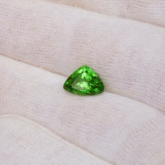 fine triangle shape green garnet
