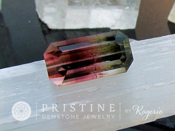 Bicolor Watermelon Tourmaline Emerald Cut Large Fine Quality Loose Gemstone