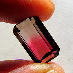 natural bicolor tourmaline emerald cut shape