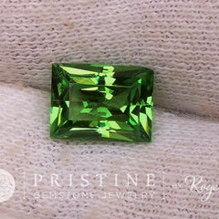 radiant cut green garnet