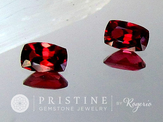 Red Spinel Cushion Shape Matching Pair for Earrings or Fine Jewelry Loose Gemstones