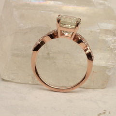 side view of rose gold mint green sapphire engagement ring