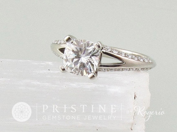 Cushion Moissanite Split Shank Diamond Accented Engagement Ring Made to Order