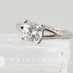 cushion moissanite engagement ring diamond alternative
