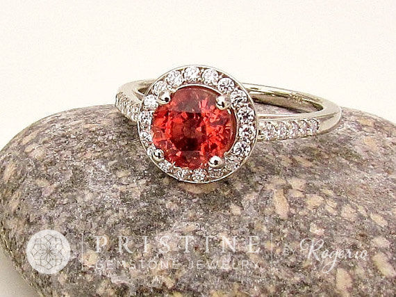 Sapphire Alternative Apricot Colored Spinel In 14k Gold Diamond Halo Engagement  Ring