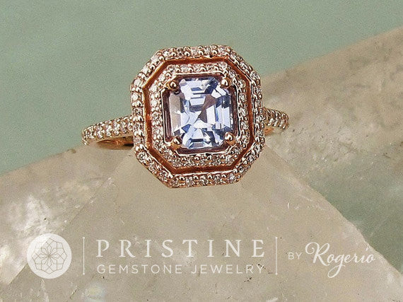 Rose Gold Asscher Cut Ice Blue Sapphire Engagement Ring Weddings Anniversary Ring Gemstone Engagement Ring