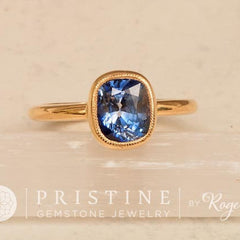 Blue Sapphire Gold Solitaire Engagement Ring Cushion Bezel Set with Milgrain Gemstone Engagement Ring Weddings Anniversary Ring