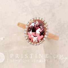 Peach Pink Apricot Colored Spinel 2cts in 14k Rose Gold Engagement Ring Diamond Halo Gemstone Engagement Ring