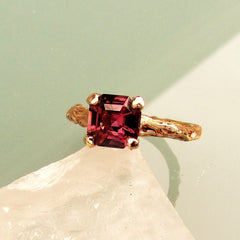 Asscher Cut Purple Spinel Twig Ring 14k Rose Gold Gemstone Engagement Ring Weddings Anniversary Organic Gemstone Jewelry