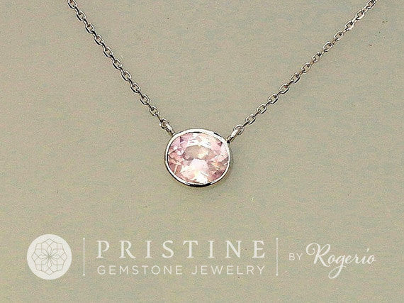 Whisper Pink Sapphire Layering Necklace in 14k White Gold