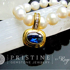 Ceylon Blue Sapphire Pendant SALE in 14k (two tone) Gold and Diamond Setting September Birthstone Jewelry