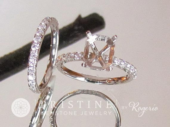 Diamond Accented Bridal Set Semi Mount in 14k Gold Main Stone Sold Separately