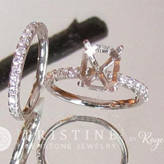 diamond accented semi mount bridal set