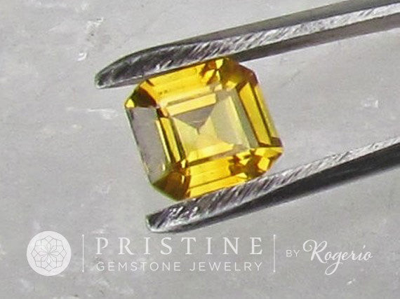 Asscher Cut Yellow Sapphire Over 2 Carats September Birthstone