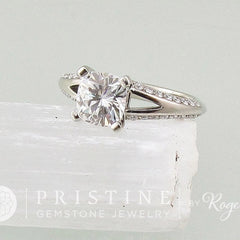 Split Shank Diamond Accented Engagement Ring Semi-Mount Weddings Anniversary Square Cushion