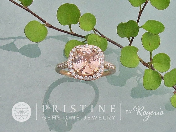 Diamond Halo Engagement Ring Semi Mount in 14k Rose Gold White Gold or Yellow Gold Centre Stone Sold Separately