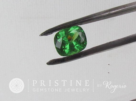 Fine Tsavorite Green Garnet  Cushion Shape Loose Gemstone January Birthstone for Fine Gemstone Jewelry