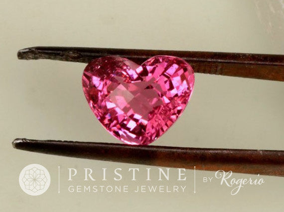 Pink Tourmaline Heart Shape Gemstone for Engagement or Anniversary Ring October Birthstone Over 5 Carats Size