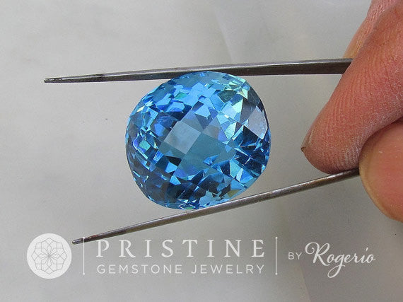 Blue Topaz  Cushion Checkerboard Cut Over 49 Carats November Birthstone Loose Faceted Gemstone for Fine Jewelry