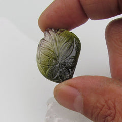 Tourmaline Fine Leaf Carving Over 25 Carats October Birthstone for Jewelry or Pendant