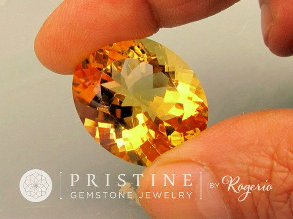 Citrine Oval Yellow Over 50 Carats  Gemstone November Birthstone Precision Cut by Rogerio