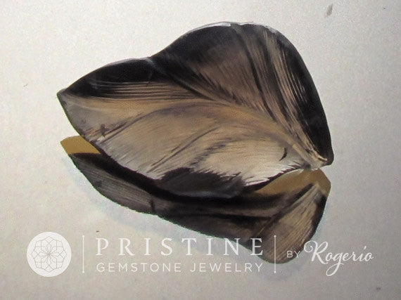 Unique Carving Leaf Smokey Quartz Over 30 Carats Fine Craftsmanship for Jewelry or Pendant Collector Gemstone