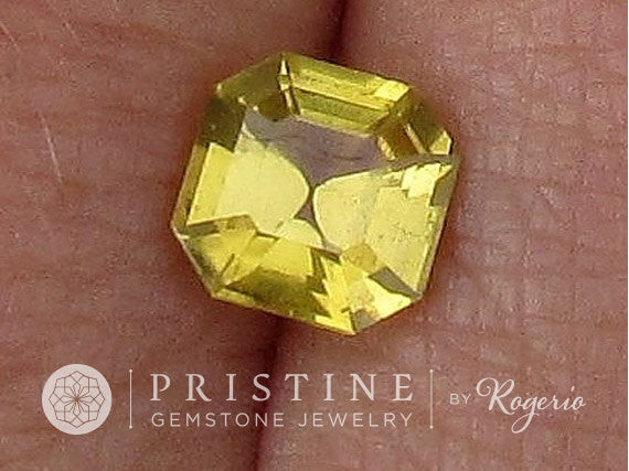 Asscher Cut Yellow Sapphire for  Anniversary Ring