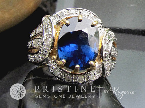 Blue Sapphire Anniversary Ring in 14k Gold and Diamond Halo Setting September Birthstone Gemstone