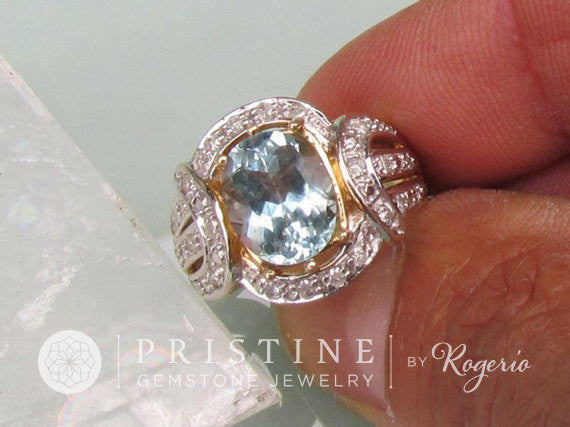 Aquamarine Dinner Ring Gold and Diamond Halo Gemstone Cocktail Ring September Birthstone Gemstone