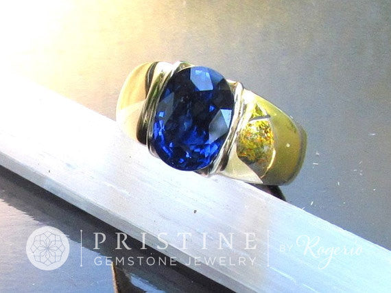 Ceylon Blue Sapphire Gold Ring September Birthstone