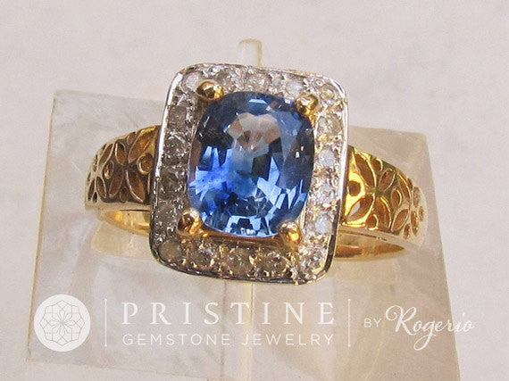 Ceylon Blue Sapphire Art Deco Ring in 14k Gold Diamond Halo